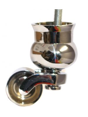 Chrome Cauldron Castor with Threaded Bolt