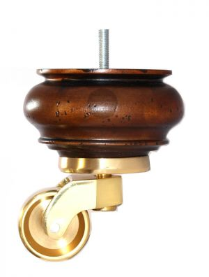 Grace Antique Brown Wooden Furniture Legs with Shallow Cup Brass Castors